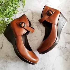 Dansko | Cognac Brown Rebel Ankle Strap Wedges